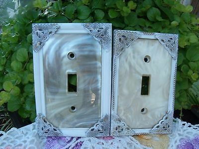 Vintage Shabby Chic Look Set Of 2 Light Switch Cover/plates  Pearl Chippy Paint