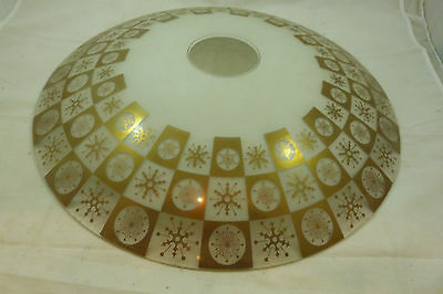 Vintage LARGE Glass Gold Snowflake Ceiling Light Fixture Retro Round Shade Cover