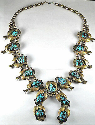 #7633 - Stunning - Large - Sterling &Turquoise - Navajo Squash Blossom Necklace