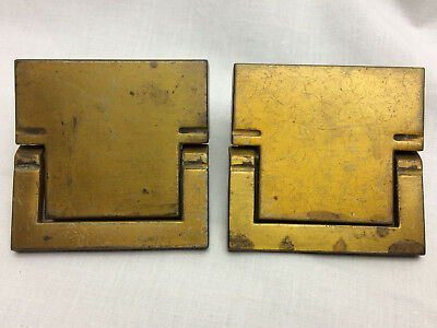 2 Vtg Solid Brass Drawer Pulls Keeler Brass Co Ornate Design Screws Grand Rapids