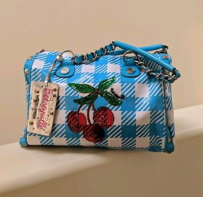 "Betsey Johnson ""Cherry Picking"" Betseyville Purse in Turquoise & White!"