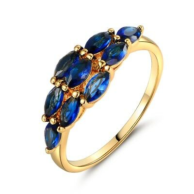 Women blue cz gold filled fashion vintage wedding engagement rings jewelry Sz9/R