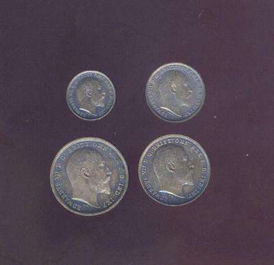 England, 1903 Maundy 4 Coin Silver Set Of Edward VII, Free USA Shipping