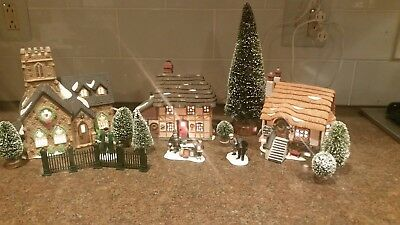 Lot #2- Dickens Village Department 56 - collector condition - 5 items & trees