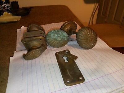 2 Sets & 1 Extra 5 Victorian Brass Door Knobs Plus Skeleton Keyhole Escutcheon