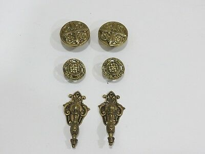 Lot of 6 Vintage Antique Brass Drawer Pulls