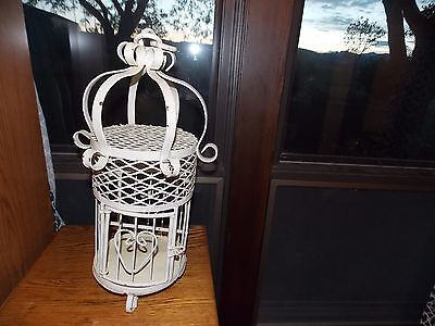 Wrought Iron Bird Cage Vintage with Top Chain Links