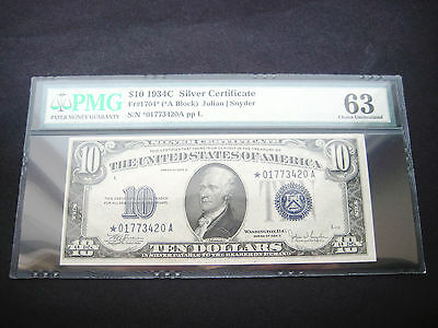 Wow Rare $10 1934 C***star***silver Certificate Bu Note**pmg 63 Good Embossing**