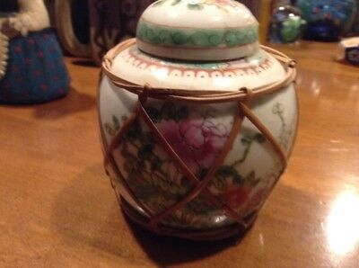 """Antique Hand Painted Chinese Ginger Jar Famille Rose Porcelain Marked Label 5"""""""