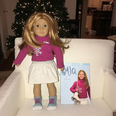 American girl doll Mia with book top skirt shoes sneakers original authentic