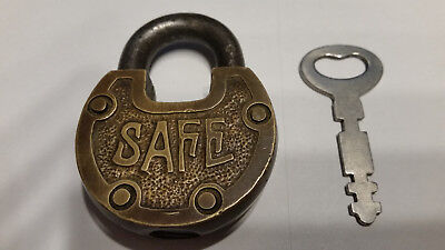 Antique Padlock Safe Brass With Key
