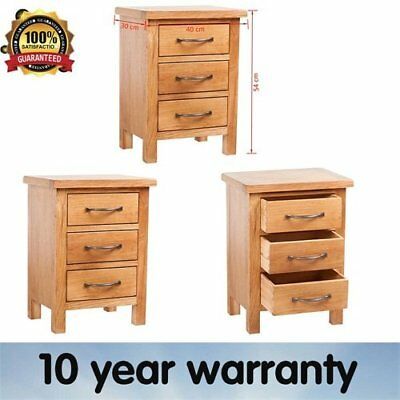 Oak Nightstand 3 Drawers Handles 40 X 30 X 54 Cm Bedside Table Furniture Diy New