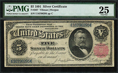 "1891 $5 Silver Certificate FR-267 - ""Grant"" - PMG 25 ""Comment"" - Very Fine"