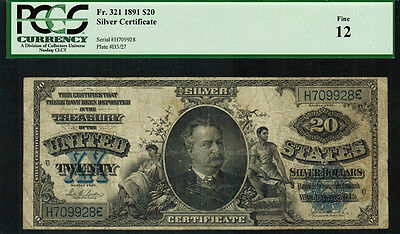 "1891 $20 Silver Certificate FR-321 - ""MANNING"" - Graded PCGS 12 - Fine"