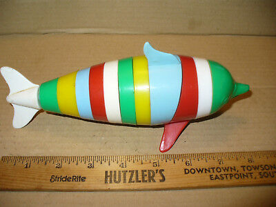"Vintage Dolphin Stackable Ring Learning Toy Multi Color Plastic 8"" Long Latimer"