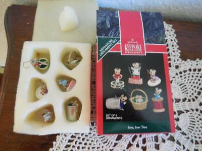 Hallmark 1992 Miniature 6 Ornament Set Sew Sew Tiny In Box