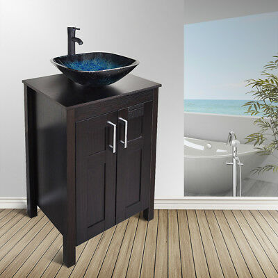Bathroom Vanity Cabinet 24 Vessel Sink Bowl Single Faucet Drain