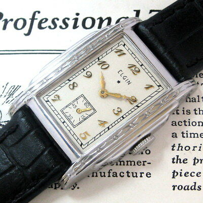 Mens 1936 Elgin USA Stepped & Engraved Stainless Steel Art Deco Vintage Watch A+