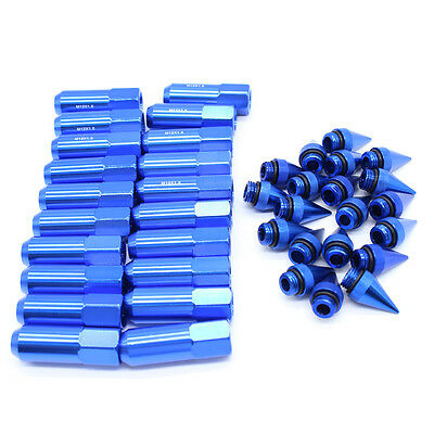 Blue 20PC M12X1.5 Aluminum Extended Tuner Wheels Rims Lug Nuts with Spike