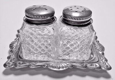 victorian Salt and Pepper Shakers 2 mini cube cut glass Silver plate with tray