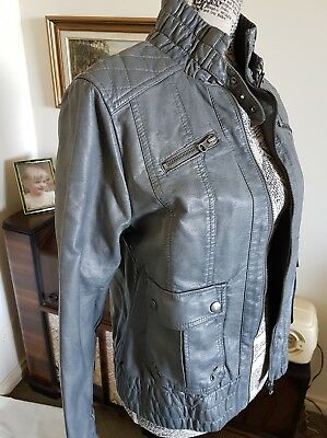 Jeanswest Biker Bomber Jacket Faux leather As new never worn Grey Size 12 grunge