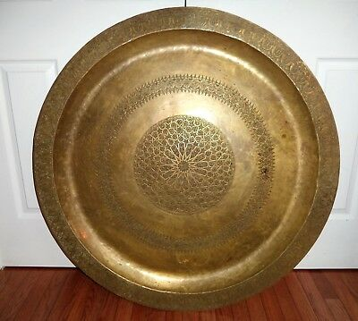 """Antique Large 40"""" 100cm Persian, Islamic,Middle East BIG Brass Tray Table Heavy"""