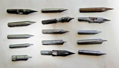 Lot Of 15 Old Vintage Antique Fountain Pen Nibs. Assorted Brands. See List.