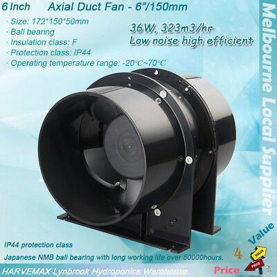 "6"" Ventilation Silent Fan Metal Blower Hydroponics Intake Exhaust Axial Vent Fan"