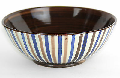 "Danish Art Pottery 8 1/2"" Striped Bowl by RAS Mid Century Denmark, Signed"