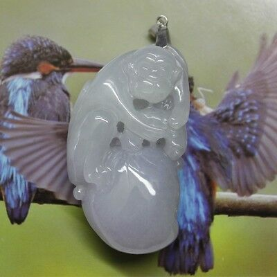 Certified Natural (Grade A) Lavender Jadeite Jade Carved Peach Monkey Pendent