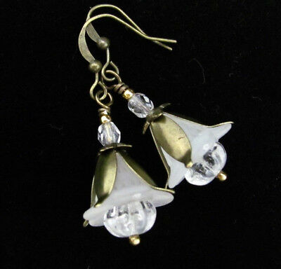 FLOWER Earrings ~ WHITE LILY CZECH glass bronze VINTAGE STYLE FRENCH HOOK DROPS