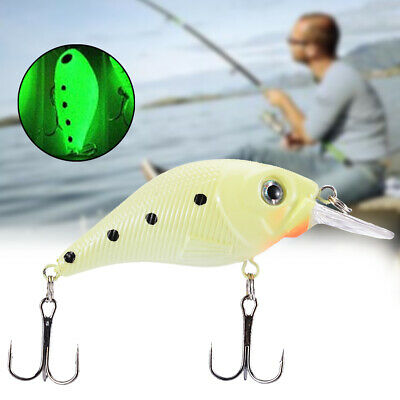 3D Luminous Night Fishing Lure Floating Fatty Body Crankbait Metal Hook Tools