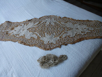 Tres Beau Grand Napperon Chemin De Table Ancien 1930 A Terminer Couture Broderie