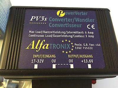 Spannungswandler Alfatronix PV3s, IN 17-32 V / OUT 13,6 V , 36 W, 3 A, Neu