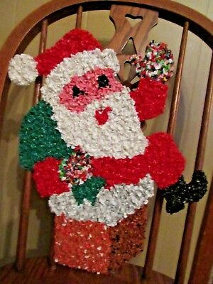 Vintage Melted Plastic Popcorn Santa Claus Decoration Indoor or Outdoor