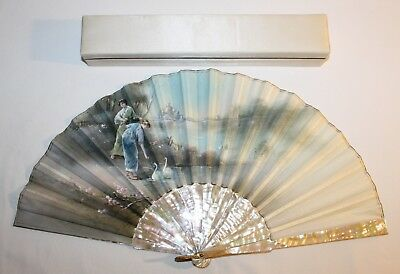 Antique Spanish Carved Mother Of Pearl Painted Scene Fan Signed