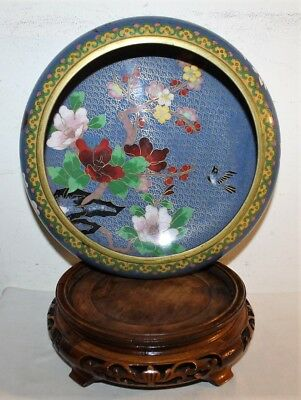 Antique Chinese Bronze Cloisonne Brush Wash Floral Bowl With Wooden Stand
