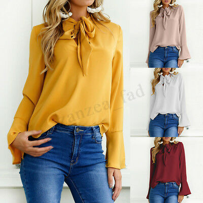 UK 8-24 Women V Neck Lace-up Tie Bell Sleeve Ladies Tops Shirts Blouse Plus Size