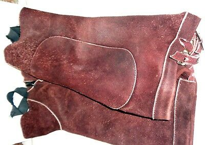 Used Ladies/Mens Brown Washable Horse Riding Half Chaps in Suede Size Medium