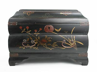 Early 20th C. Japanese Jewellery Chest Box Black Lacquered Gilt Birds Floral