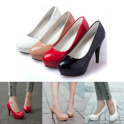 e8f74e0a8ad1 Women High Heel Stiletto Patent Leather Work Shoes Round Toe Platform Pumps  Size