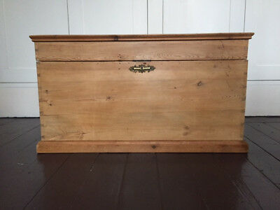 Rare Large Antique Vintage Victorian Old Pine Chest / Wooden Trunk /Blanket  Box