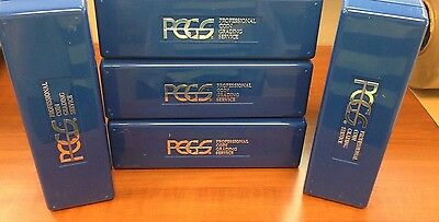 Lot of 5 Used Empty CLEAN PCGS  Blue Plastic Storage Box ~ Holds 20 PCGS Slabs