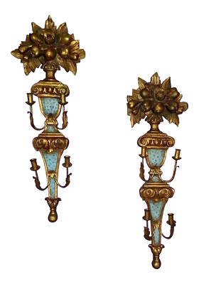 Monumental Antique Italian Wood Tole Wall Sconces - a Pair