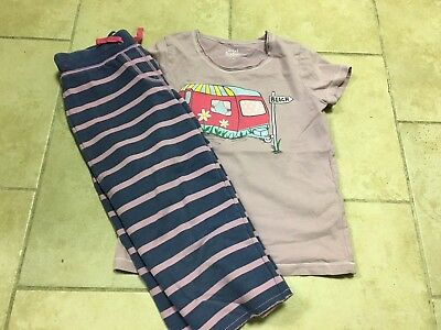 Mini Boden Outfit; Blue Striped Cropped Pants/beach Camper Shirt, Girls Size 7-8