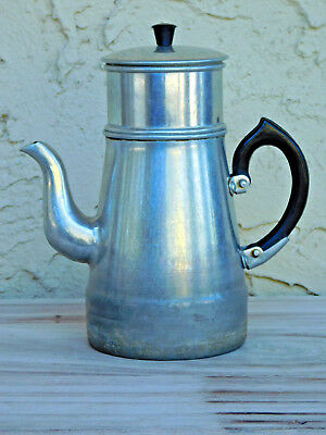 Vintage Aluminum Teapot or Coffee Pot With Basket Strainer