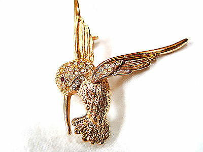 BROSCHE Kolibri Design ROMAN USA / Vintage Hummingbird BROOCH Signed Beautiful