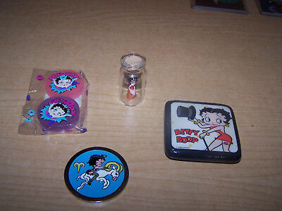 4 Betty Boop Items Coin Magnet Betty in a bottle Erasers Nice Condition
