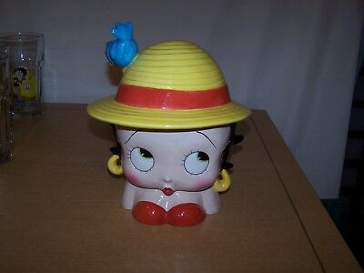 Betty Boop Blue Bird On The Hat Cookie Jar Enesco King Features Mint Cond