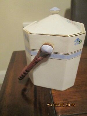 Crown Devon Fielding's China Biscuit Barrel With Cane Handle